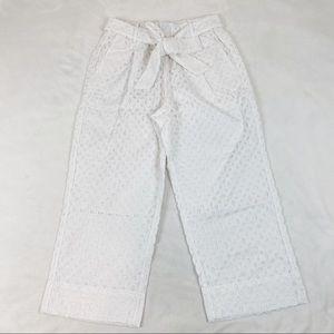 J Crew tie Waist eyelet cropped pants high rise